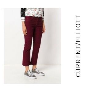 Current Elliott Cropped Flared Corduroy Jeans 25